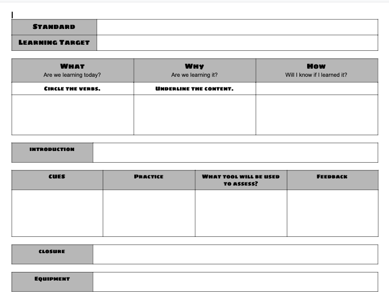 Lesson Plan Template Specific To Physical Education The Physed Coach